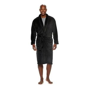 Men's Black Plush Bathrobe Bath robe Size Small